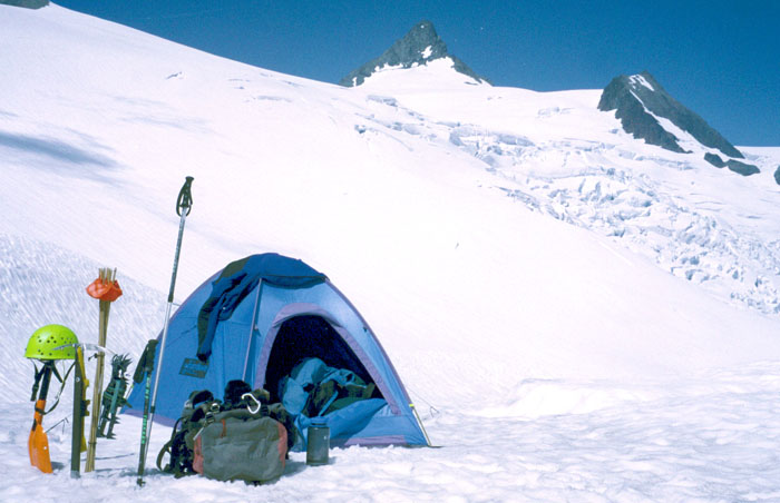 My camp at 6,000' with the summit pyramid in the distance