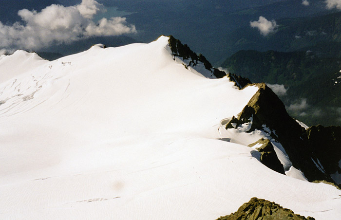 Looking down from Shuksan's summit to my route along the Sulphide Glacier