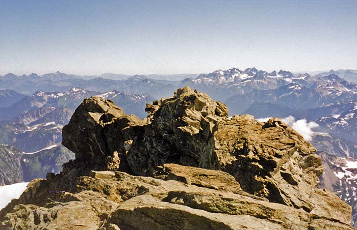 The view north into Canada from the 9,200' summit of Mount Shuksan