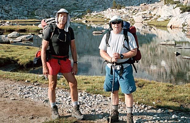 Peter and Pat at the high crossing of Lyell Creek below Donahue Pass