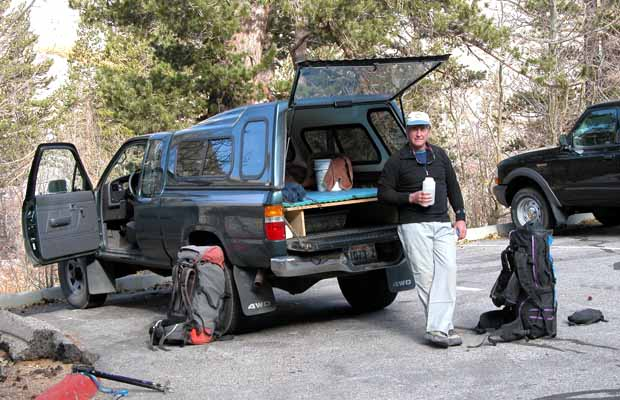 Oct. 2002: Jim relaxing at the South Lake trailhead before heading out on our climb