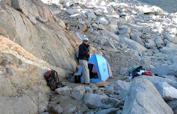 Our camp in the boulder field at 12,400' below the southwest face of Mt Sill