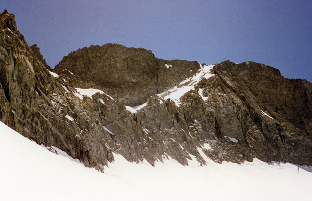 Looking up at Scimitar Pass from Sill Glacier