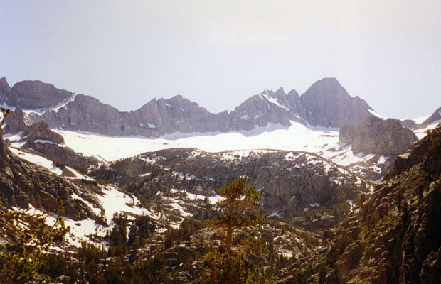 Looking west from South Fork Trail.  Scimitar Pass on left -- Mount Sill on the right