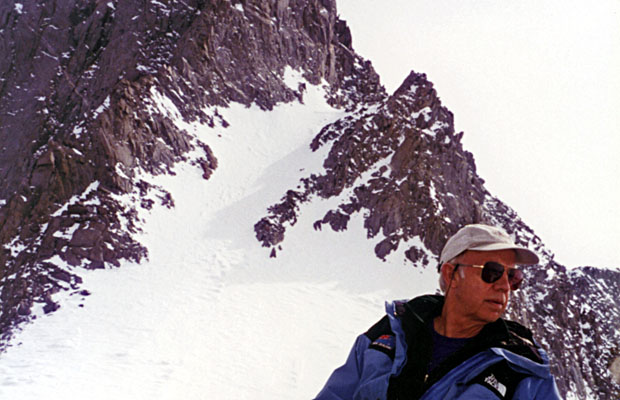 Apr. 1997: Peter at Glacier Notch with Sill's North Couloir behind.  Swiss Arete on the left
