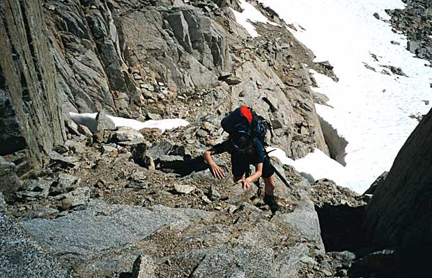 Sep 1998: Lucy climbing to Glacier Notch from the South Fork drainage