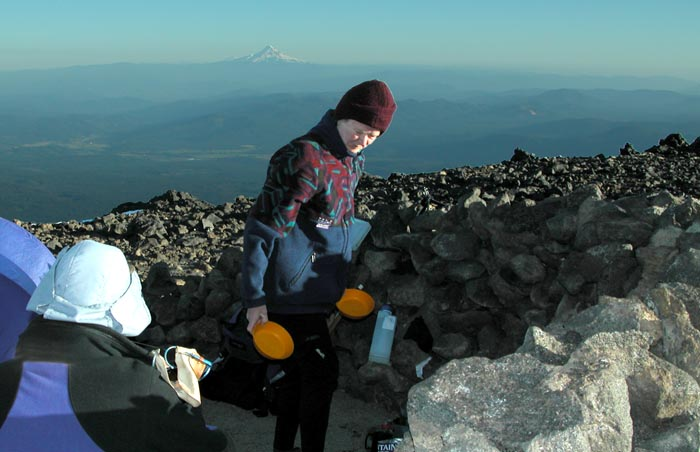 Camp at the Lunch Counter on Mt Adams at an elevation of 9,000'. Mt Hood in the background
