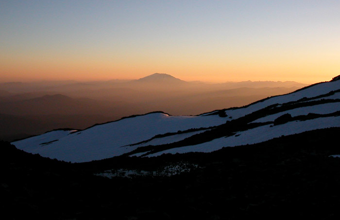Sunset as viewed from our 9,000' camp-site on Mt Adams. Mount St Helens in the background