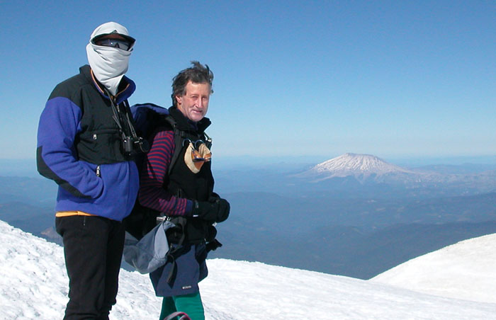 Peter and Ken on the summit of Mt. Adams (12,276'). Mount St. Helens in the background