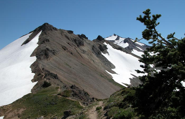 Looking south along the route of the PCT from Elk Pass, to the  8,000 foot peak of Old Snowy mountain