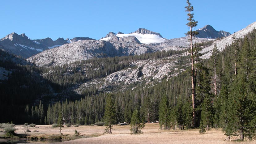 The upper reaches of Lyell Canyon with Mt. Lyell on the skyline