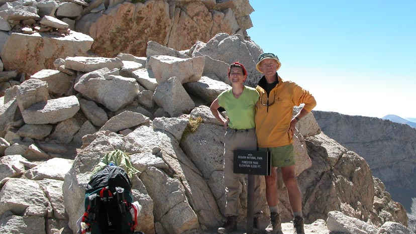 Lucy and Peter on Forester Pass, 13,200', the highest point on the PCT