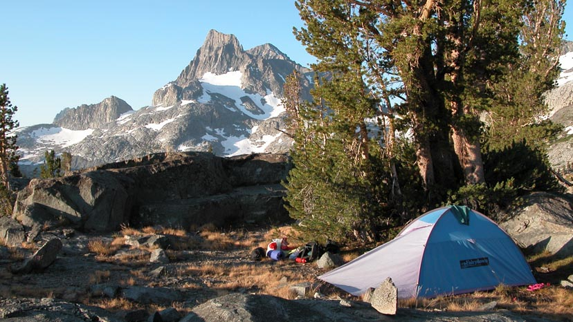 Our 10,000' camp-site at Island Pass, with Banner Peak behind
