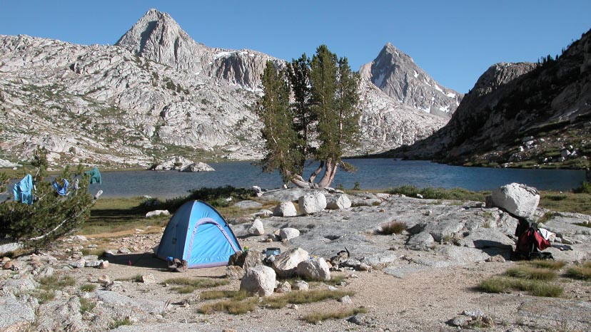Our camp at 10,900' by Evolution Lake, looking south towards Muir Pass