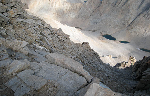 Looking down the Mountaineers' Route from the summit of Whitney