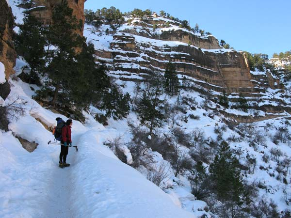 Lucy descending on the second switchback of the Bright Angel Trail