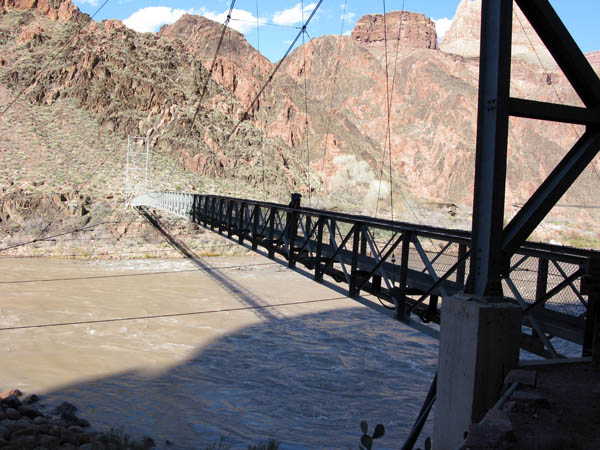 Silver Bridge crossing the Colorado from below the South Rim to Bright Angel campground.