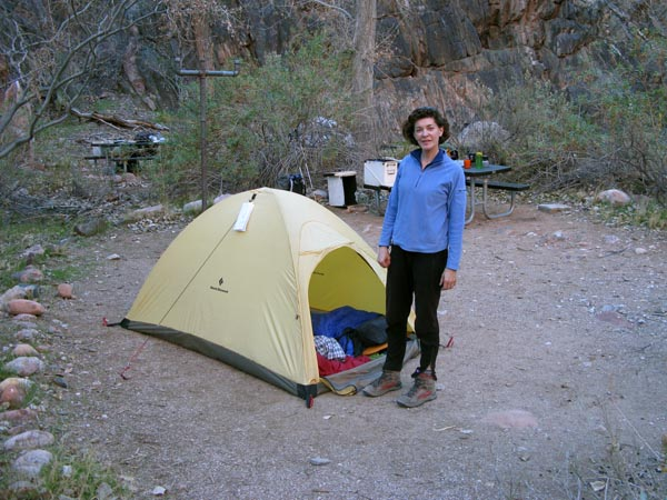 Lucy at our campsite in the Bright Angel Campground on our first night in the Canyon.