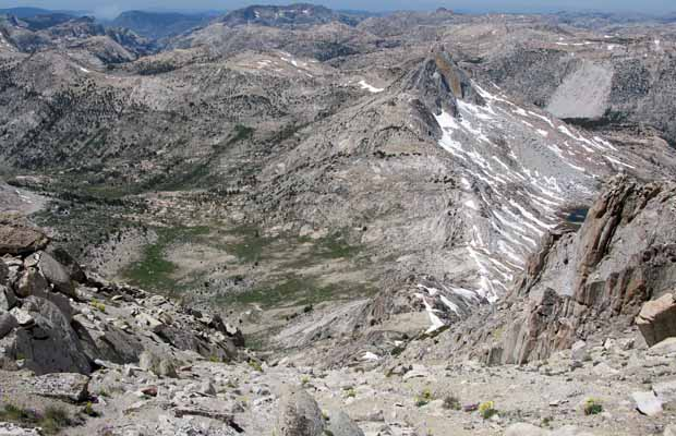 Looking down into Matterhorn Canyon and at Burro Pass, on the right