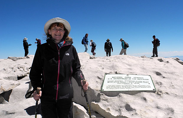 4 September: Angela standing on the 14,495' summit of Mt. Whitney