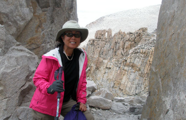 Jeanne on the climb from Trail Crest to Mount Whitney summit