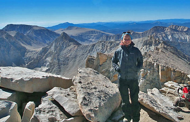 3 September: Yvonne standing on the 14,495' summit of Mt. Whitney