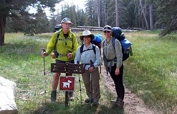 Peter, Jeanne and Kristy beginning their JMT hike at Tuolumne Meadows