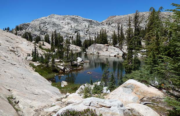 The large rock pond on Seavey Pass, as seen from the PCT.