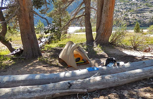 My camp on Benson Lake beach front, with an onshore breeze to keep the mosquitos away.
