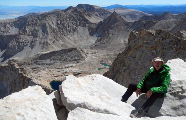 The goal is achieved ... Peter on the 14,495' summit of Mt. Whitney