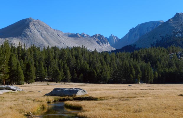 Early morning at Crabtree Meadow … the western flank of Whitney in the right background