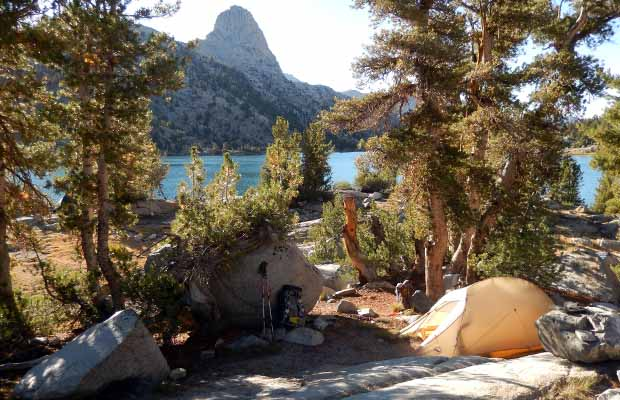 "Our camp at Rae Lakes.  The ""Fin"" in the background"