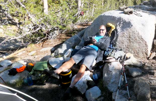 Rob in a relaxed mode at our Rae Lakes campsite ... only 4 days to the finish