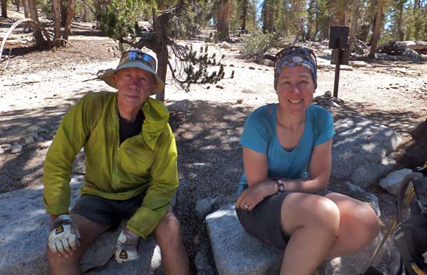 Peter and Angela at the interesection of the JMT and Kearsarge Pass trails