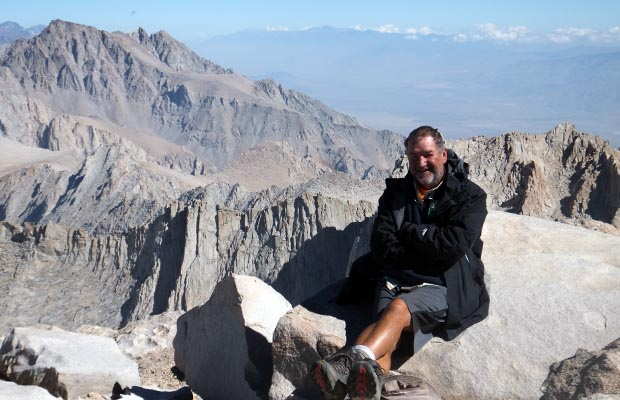 The goal is achieved ... Rob on the 14,495' summit of Mt. Whitney