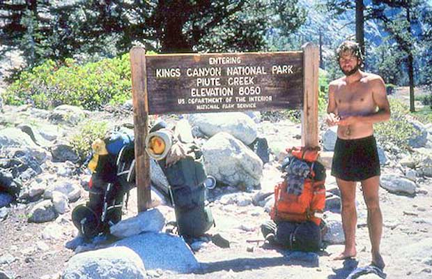 Rob in 1977 at the Piute Creek intersection with the JMT