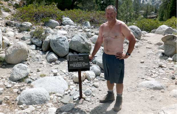 Rob in 2013 at the Piute Creek intersection with the JMT - notice the different sign!