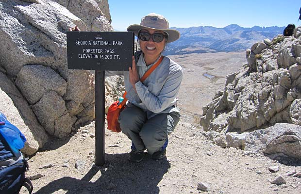 Jeanne on the summit of the 13,200' Forester Pass