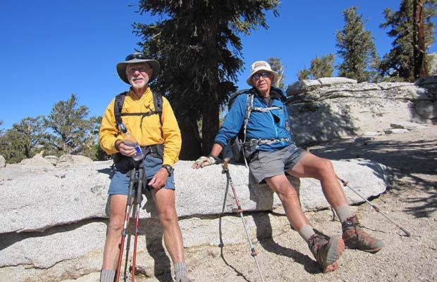 Bob and Peter resting on the gentle Guyot Pass, a few miles north of Rock Creek