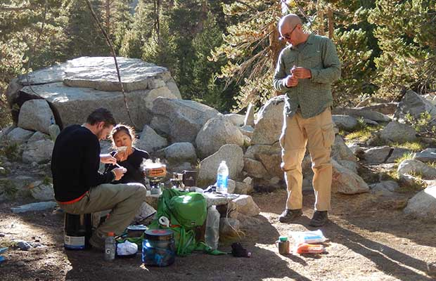 Our first camp at the Lyell Canyon footbridge. Brian, Jeanne and Benjamin