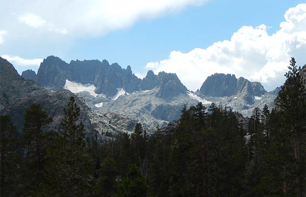 The Minarets as seen from the JMT on the descent to the Shadow Creek trail.