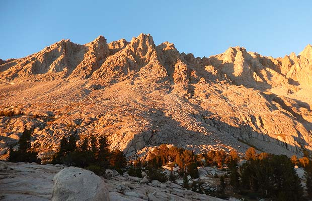 Alpenglow on Mount Mendal seen from our Evolution Lake camp