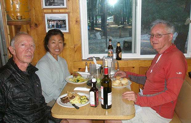 This is better than trail-food and pond water! Peter, Jeanne and Mike at VVR [2012]