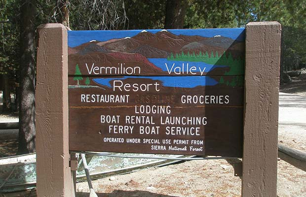 The welcome sign to Vermilion Valley Resort [VVR]