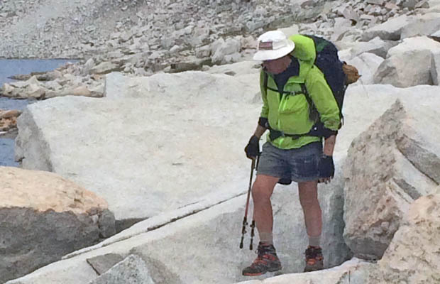 Peter battling his hated talus ... this time along the southern shore of Lake Italy