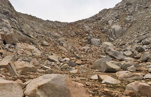 The hated talus on the northern side of Gabbot Pass on the High Route