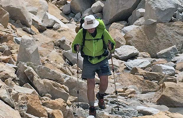 Peter battling his hated talus on the northern side of Gabbot Pass