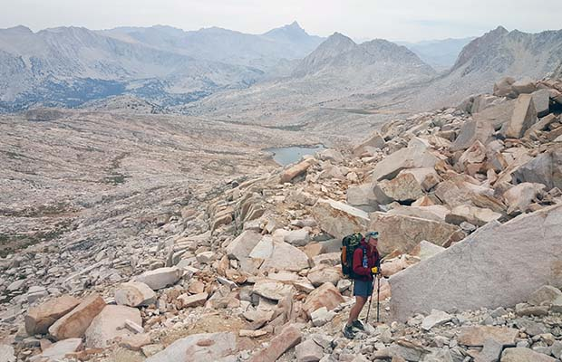 Bob climbing the last section of Italy Pass [12,400'] from the southern side