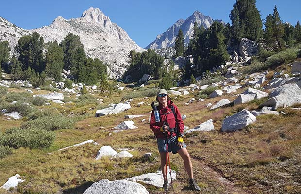Back on the High Route: On our climb to Laurel Lake.  Red and White Mountain behind.