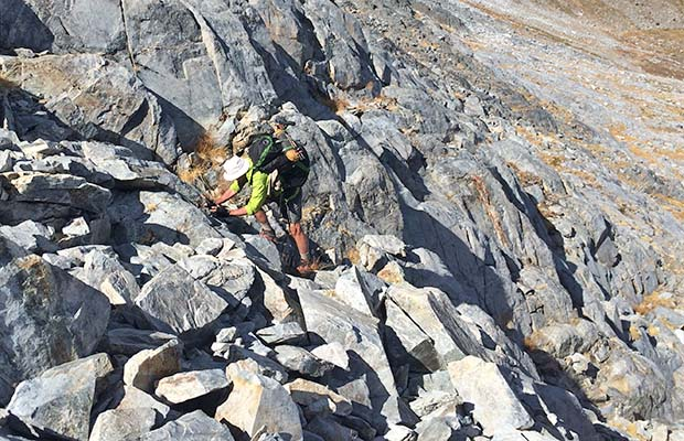 No place for a 76 year old guy with titanium knees! Slightly off-route on the High Route